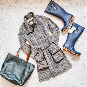 BODYBAG by jude Fitted Plaid Trench Coat